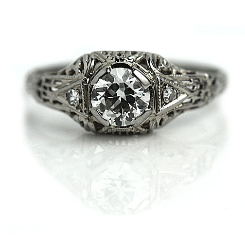 Art Deco Engagement Ring Antique Engagement Ring Old 60 Ct European Cut Diam