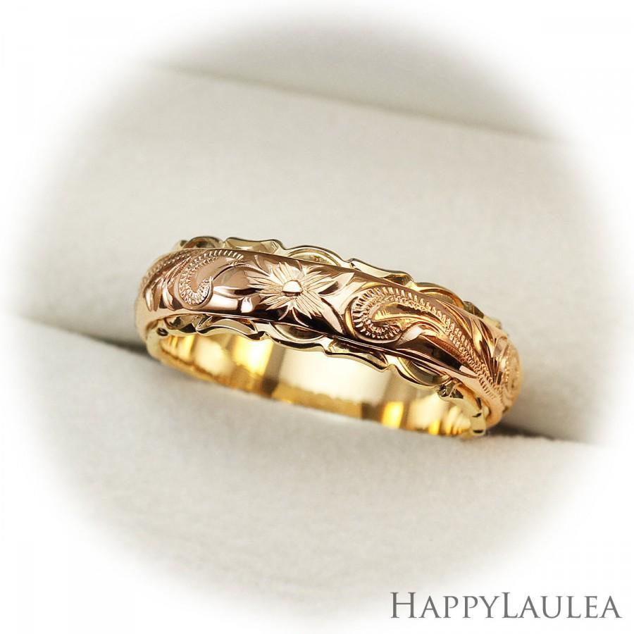 Свадьба - Hawaiian Heirloom Jewelry Hand Engraved 14K Gold Two Tone Ring (4mm x 6mm width)