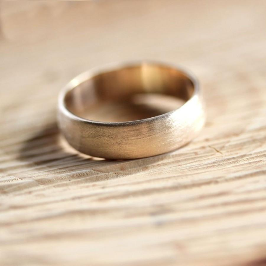 Wide Mens Gold Wedding Band Recycled 10k Yellow Gold 6mm Brushed Low Dome Mans Gold Wedding