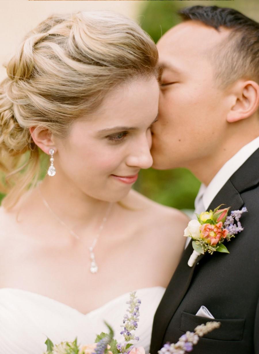 Crystal Bridal Earrings Rose Gold Wedding Jewelry Swarovski Crystal