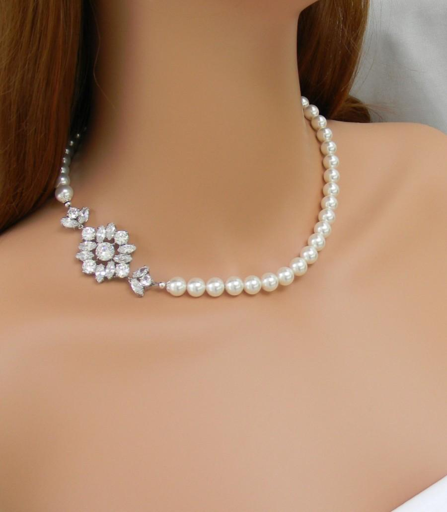 Bridal Jewelry SET Pearl Wedding Necklace Rose Gold Bridal Earrings
