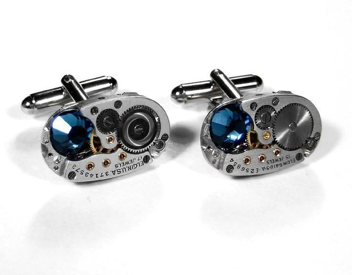 steampunk cufflinks vinatge elgin oval ruby jeweled watch mens steampunk cufflinks vinatge elgin oval ruby jeweled watch mens cuff links gorgeous blue swarovski crystals steampunk jewelry by edmdesigns