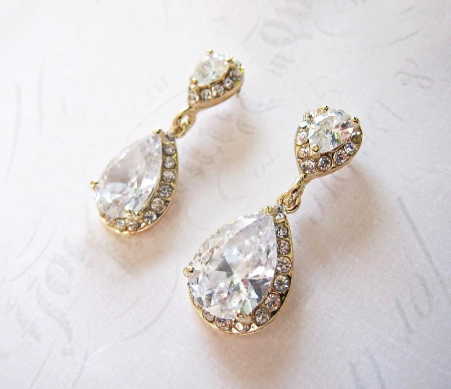 Gold Vintage Wedding Earrings 1920s Bridal Teardrop Drop Pear Shaped Camille