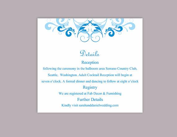 Wedding - DIY Wedding Details Card Template Editable Word File Instant Download Printable Details Card Aqua Blue Details Card Elegant Information Card