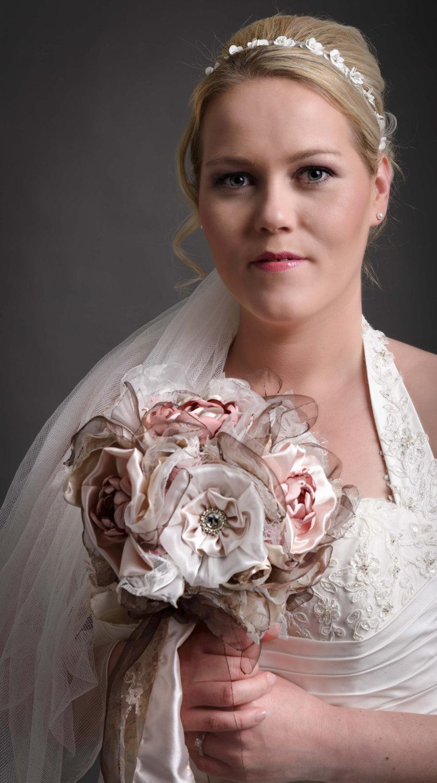 Mariage - Shabby Chic Bridal Bouquet Handmade