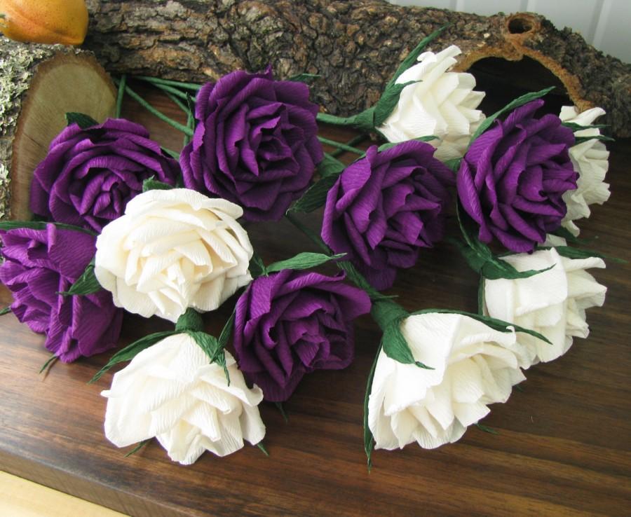 Paper Flower Ivory&Purple Roses, Bridal Bouquet, Crepe Rose-dozen ...