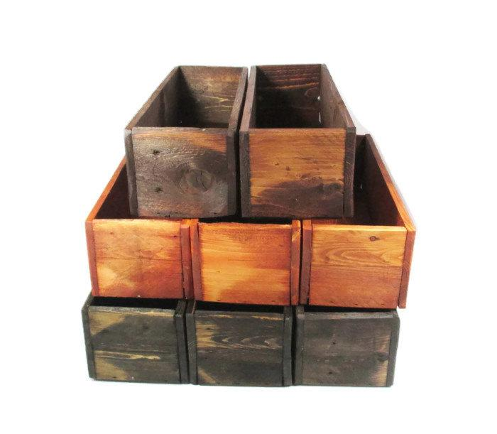 Hochzeit - Wedding Table Decor -  10 Wood Centerpiece Boxes - Reclaimed Wood