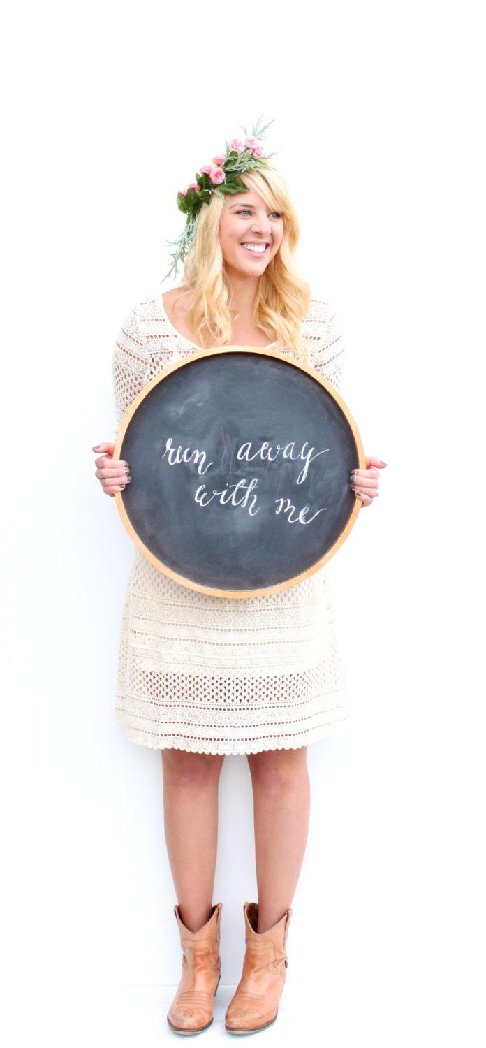 """Mariage - 18 1/2"""" Round Copper Leaf Chalkboard: also available in gold leaf or silver leaf"""