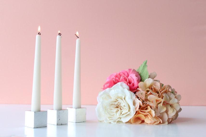 Hochzeit - Wedding Centerpiece Taper Candle Holders: silver leaf taper holders (set of 3)
