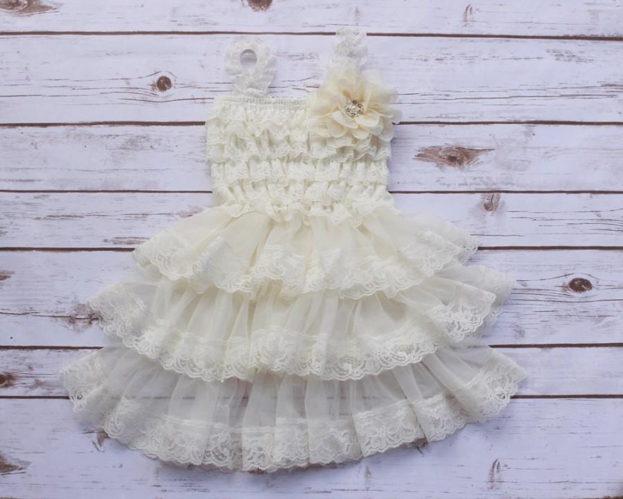 Wedding - Flower Girl Dress, Ivory Lace Flower Girl Dress, Flower girl Dresses, Baby Lace Dress, Country Flower Girl dress, Rustic Flower Girl Dress