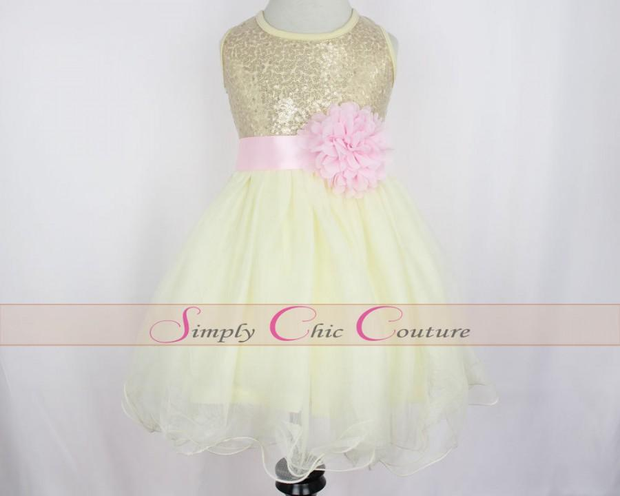 Pink and gold flower girl dresses good dresses for Pink and gold wedding dress