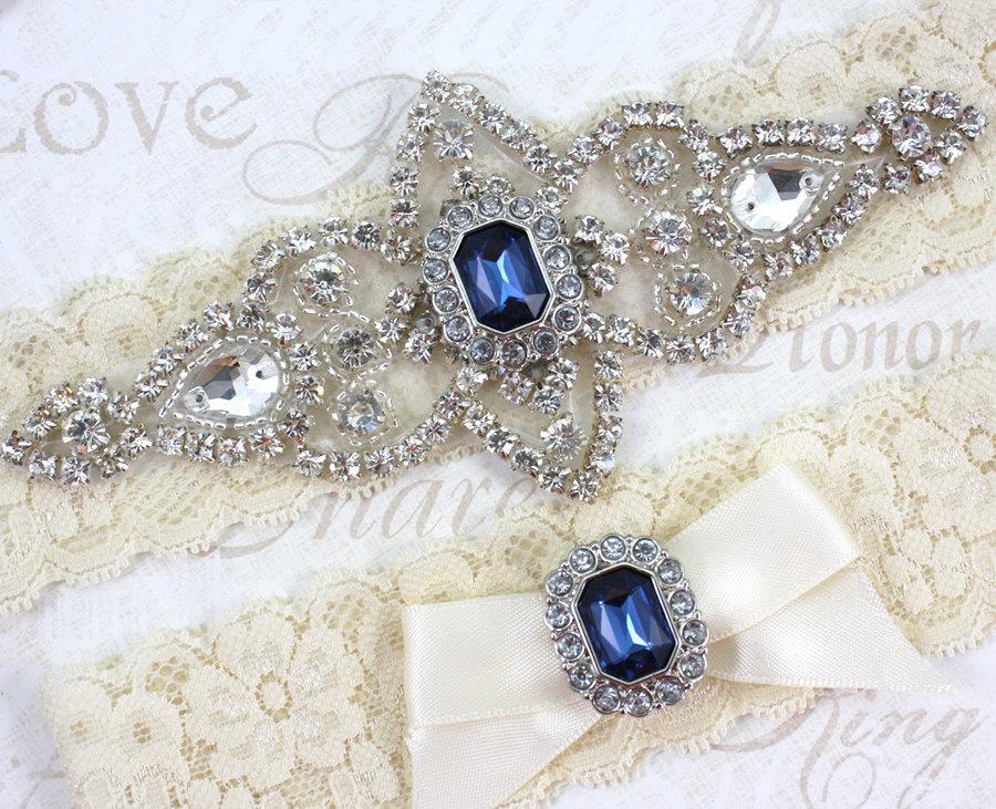 Mariage - Best Seller - CHLOE II - Sapphire Blue Wedding Garter Set, Lace Garter, Rhinestone Crystal Bridal Garters, Something Blue
