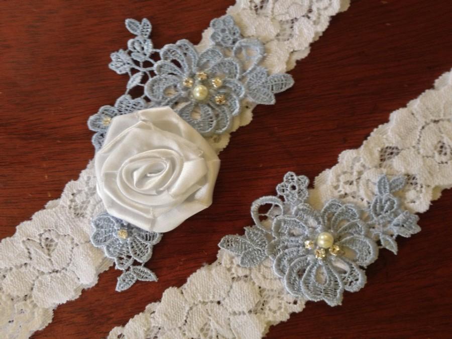 Mariage - Wedding Garter/Garter/Bridal Garter/Bridal Lingerie/ White Garter/ Something Blue/Toss Garter/Vintage Inspired/Blue Garter