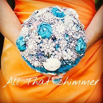 Mariage - Brooch Bouquet ~ Ready to Ship Brooch Bouquet ~ Teal Brooch Bouquet ~ Shipping Included