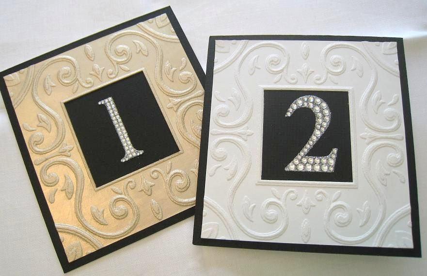 """Hochzeit - Wedding Table Numbers in Rhinestones & Embossed Frame 6"""" x 6"""" each Set of 10"""