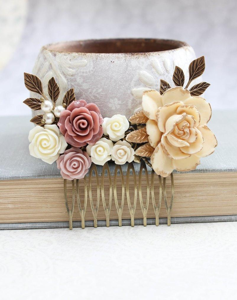 Rose gold wedding hair accessories - Bridal Hair Comb Dusty Rose Pink Vintage Style Cream Gold Floral Collage Comb Hair Accessories Romantic Wedding Hair Comb Bridemaids Gifts