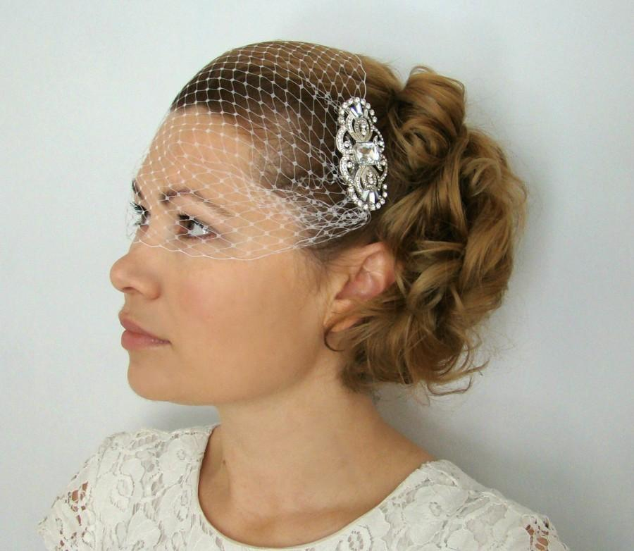 Birdcage Veil Short Wedding Ivory White With Crystal Fascinator Comb