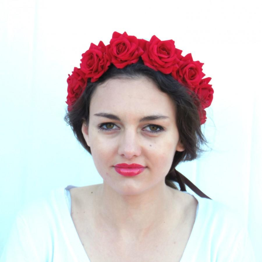 Red Flower Crown Bridal Velvet Rose Headband Hair Wreath Womans