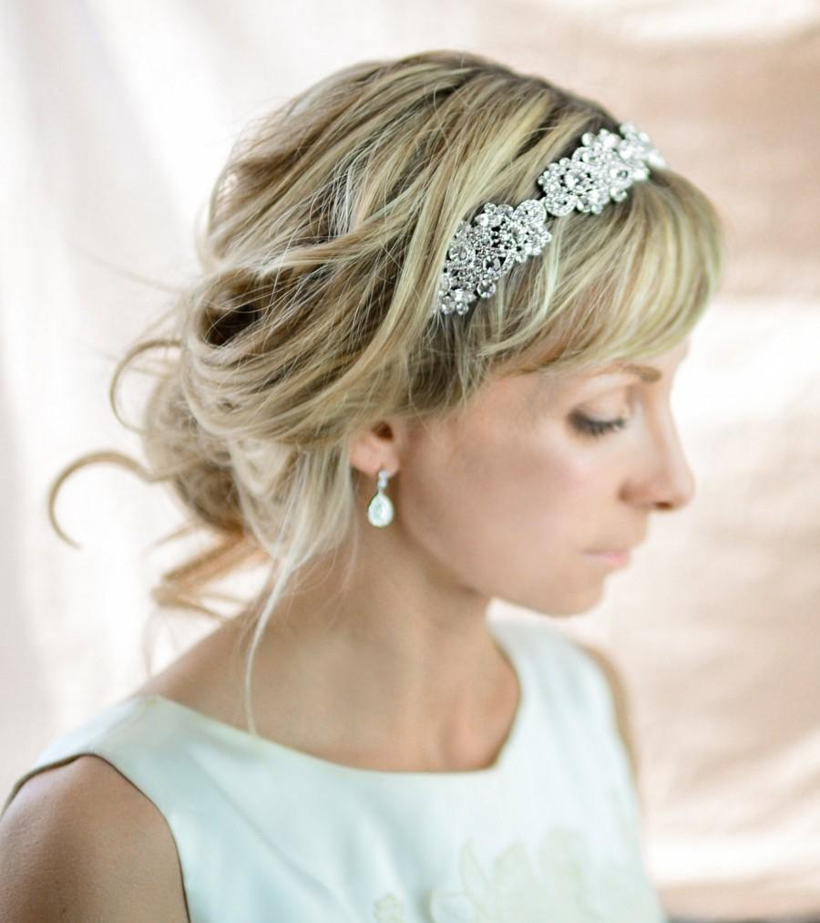 Wedding - Vintage Style Crystal Headband, Crystal Wedding Headband, Vintage Wedding Hairband, Rhinestone Wedding Head band, Bridal Hairband - 'RAE'