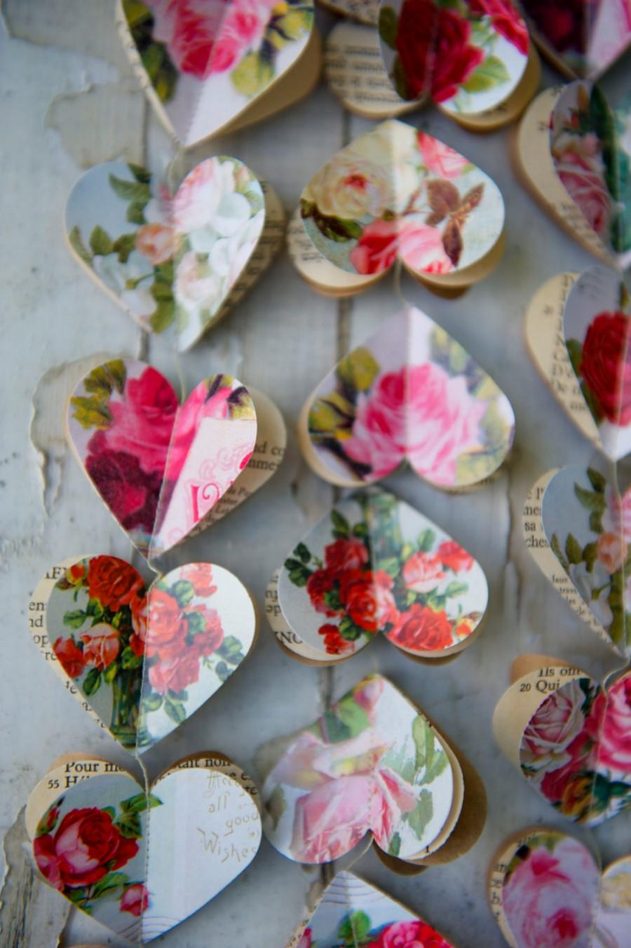زفاف - Paper garland, Valentine garland, Valentines day decor, RED ROSE Hearts, paper garland, heart garland, wedding garland, bridal shower