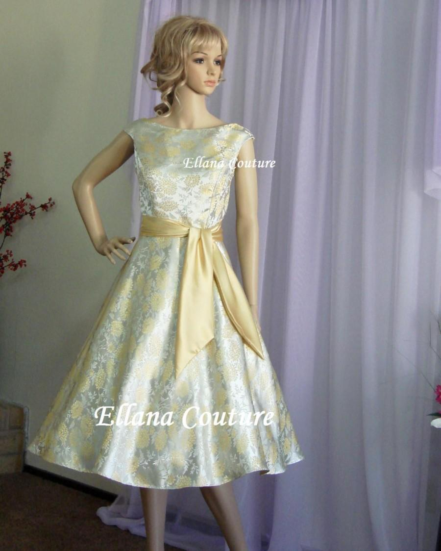 Fiona vintage inspired tea length wedding dress for Retro tea length wedding dresses