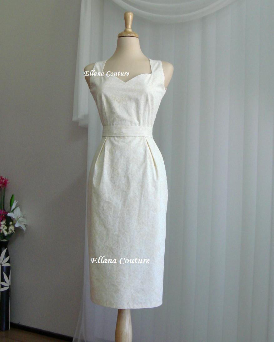 Wedding - Pamela - Cotton Wedding Dress. Feminine Vintage Inspired Design.