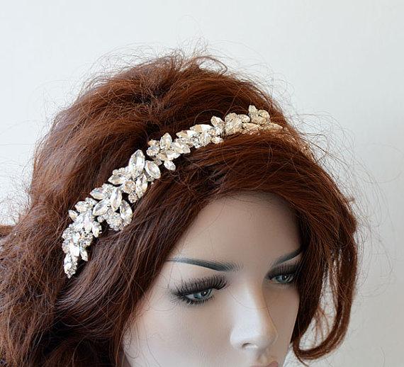 Hochzeit - Bridal Silver Rhinestone Headband, wedding Headband, wedding Accessories, Bridal Accessories, Bridal Hair Accessories, Vintage Style