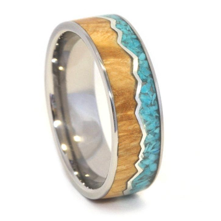 Mariage - Wooden Ring with Crushed Turquoise and Burl Wood Inlay, Ring Armor Included