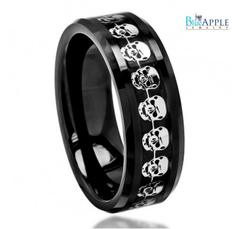 8mm band ring his hers wedding engagement men women unisex high polished black carbon fiber cut out skull head symbol inlay beveled edge - Skull Wedding Rings For Men
