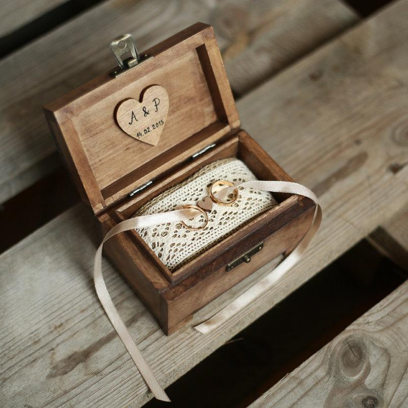 personalized wedding ring box rustic wooden ring box rustic ring holder ring bearer - Wedding Ring Box