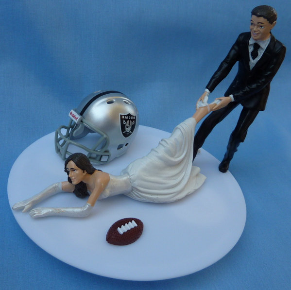 wedding cake topper oakland raiders g football themed w garter sports fan bride groom bridal shower bachelor bachelorette party gift idea