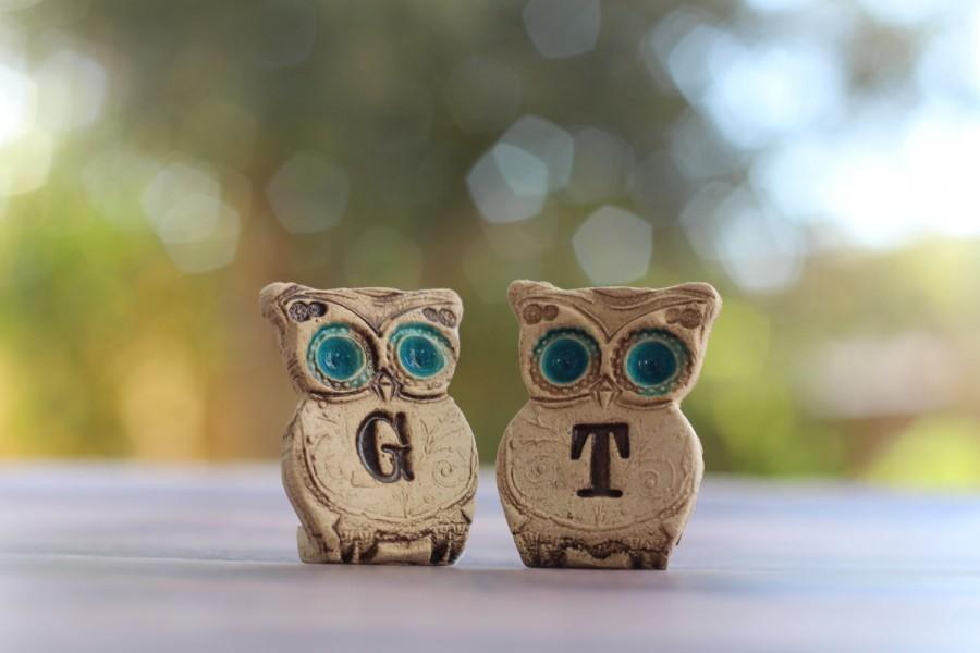 Свадьба - Custom owls cake topper Cute cake topper Initials cake topper