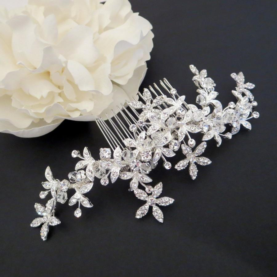 Wedding - Bridal hair vine, Wedding headpiece, Swarovski crystal hair comb, Wedding hair comb, Flower hair comb, Rhinestone hair vine, Crystal comb