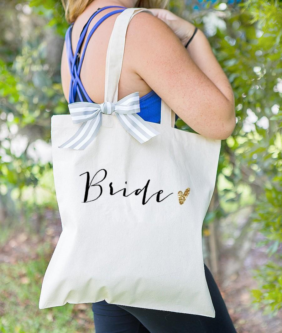 Mariage - Bride Tote Bag for Bridal Shower Gift, Canvas Bag for Bride to Be, Striped Ribbon Bag for Gift for Wedding Bridal Shower  ( Item - BBR300)