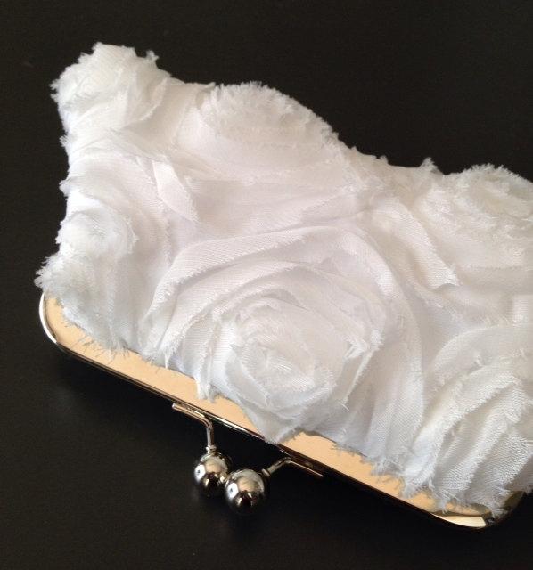 Wedding - White Frayed Rosette Clutch