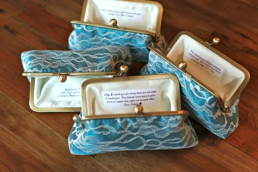 Wedding - Personalized Bridesmaids Gifts - Lace Clutches