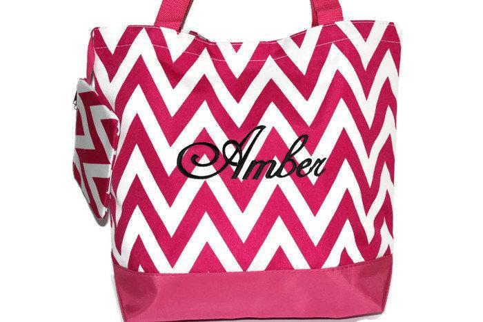 Mariage - SALE, Pink CHEVRON Tote Bag, Beach Bag, Bridesmaid Gift, Personalized Bag