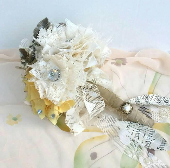 Mariage - Handmade Fabric Flower Bridal Bouquet, Large Made To Order Wedding Bouquet, Fabric Flowers, Lace Flowers, Vintage Brooch Wedding Flowers