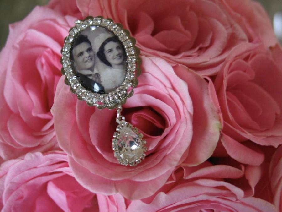Wedding Bouquet Photo Charm Oval Bridal Swarovski Crystal Memory