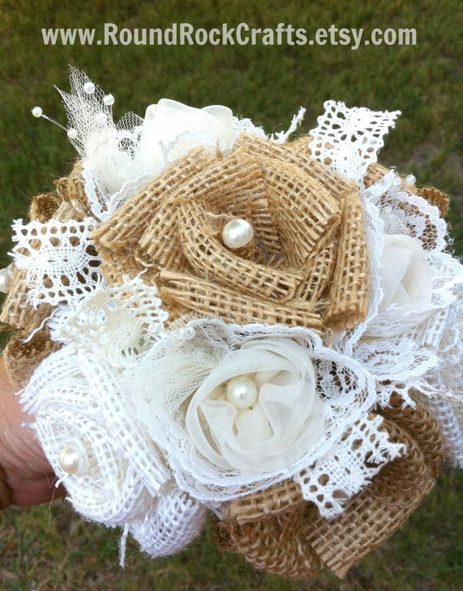 Hochzeit - Custom Burlap Bouquet Mixed - Small Natural & Off-white