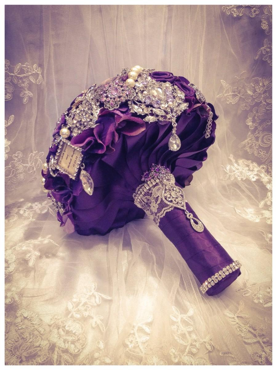 Purple Rich Classic Bridal Brooch Bouquet. Deposit On Purple Silver Gold Champagne Pearl Crystal ...