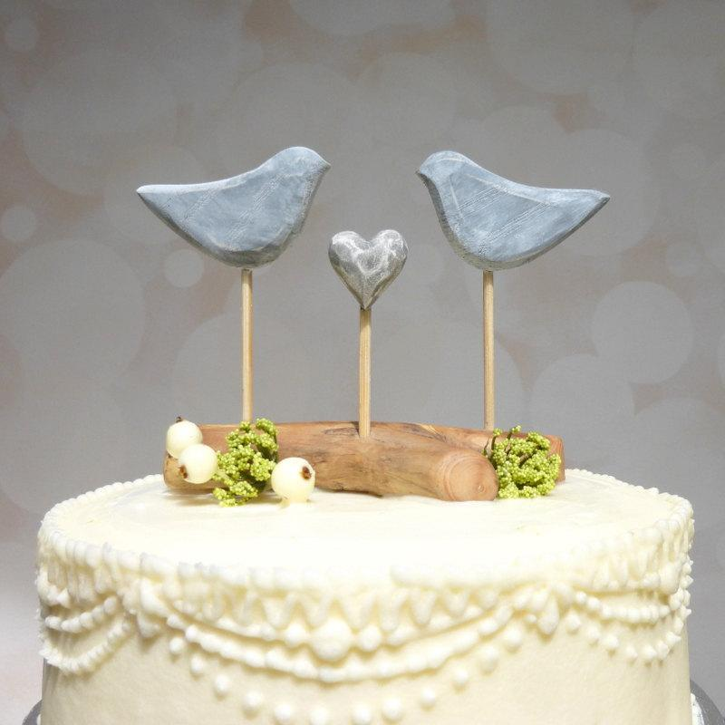 Etsy Wedding Cake Topper Grey Cake Topper Love Bird Wedding