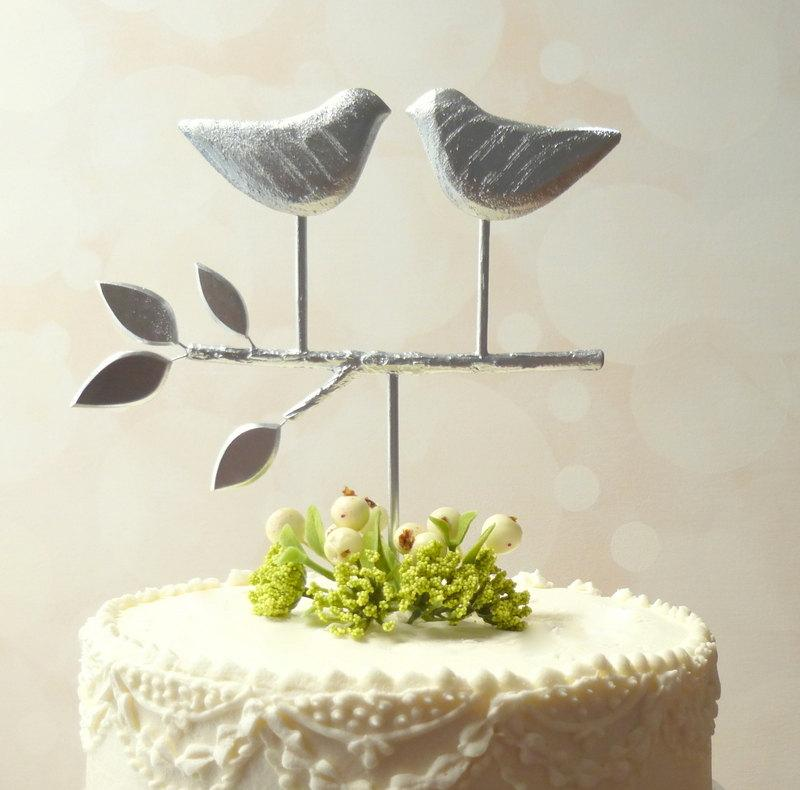 Mariage - Silver Cake Topper,  Love Bird Cake Topper, Rustic Wedding Cake Topper Silver