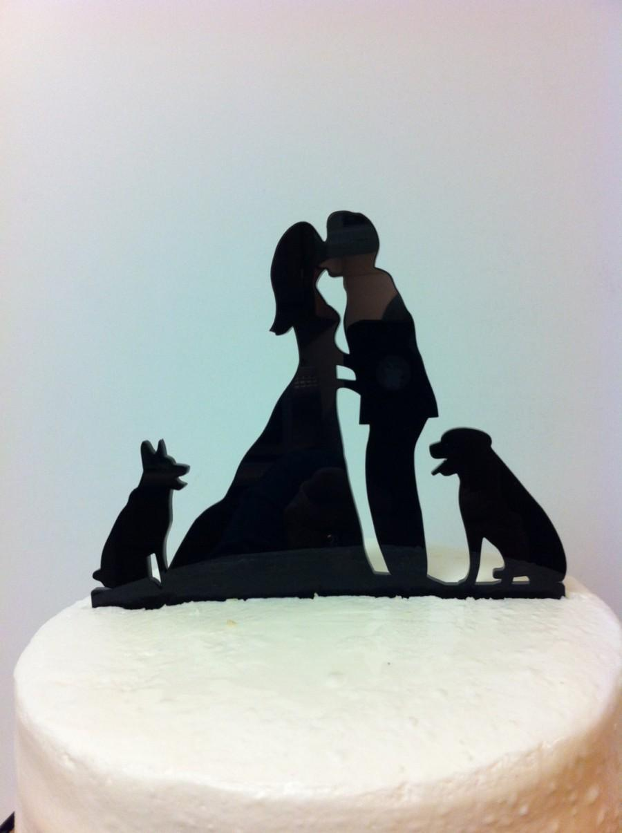 Silhouette Couple Pet Wedding Cake Topper Couple With Dog Wedding Topper MADE IN USA 2442470