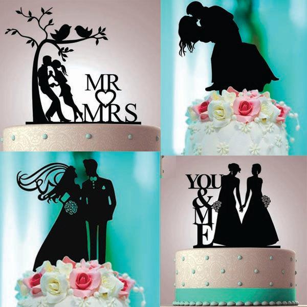 Personalized Custom Wedding Cake Topper Laser Cut Black Acrylic