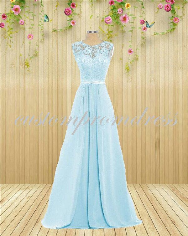 Wedding - light Blue lace prom dresses,Long prom dress,Chiffon prom dress,Bridesmaid dress custom for buyer D1804