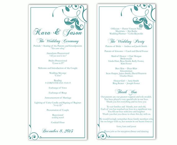 Wedding Program Template DIY Editable Word File Instant Download Teal Blue Floral Printable 4x925