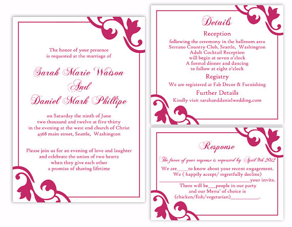 DIY Wedding Invitation Template Set Editable Word File ...