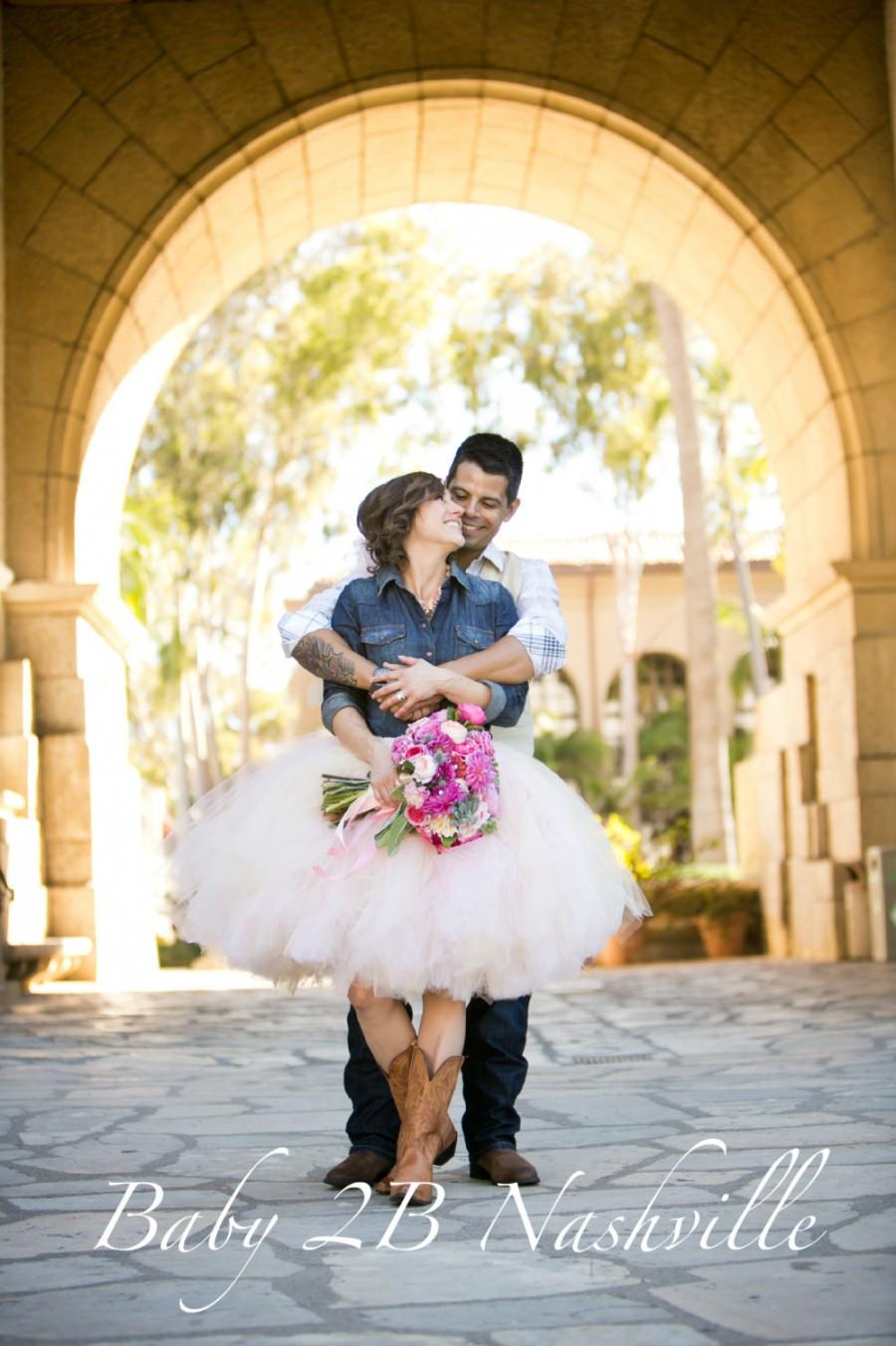 exceptional Cowgirl Wedding Ideas Part - 2: Womens Tulle Skirt Blush Pink Tutu Rustic Cowgirl Wedding Tutu Perfect for  Weddings and Portraits