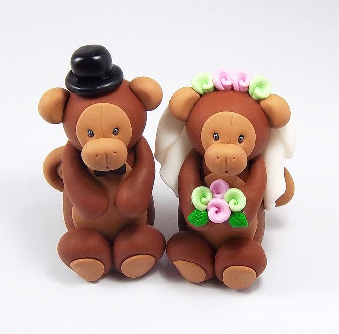 Wedding - Monkey Cake Topper, Wedding Cake Topper, Chinese Zodiac Sign, Bride and Groom